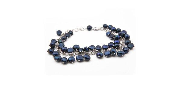 Dámsky náramok s tmavo modrými perlami Orchira