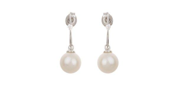 Dámske biele visiace perlové náušnice Orchira so zirkónom