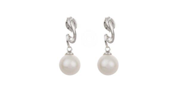 Dámske biele perlové náušnice Orchira so zirkónmi