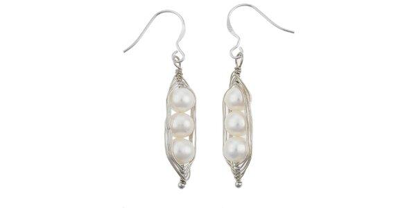 Dámske náušnice s tromi bielymi perlami Orchira