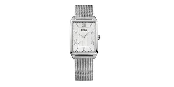 Dámske strieborné hranaté hodinky Hugo Boss Orange