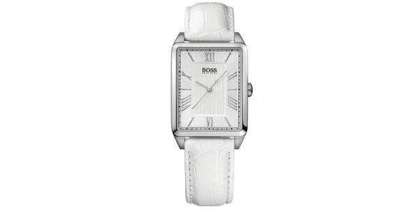 Dámske strieborné hranaté hodinky s bielym ciferníkom Hugo Boss Orange