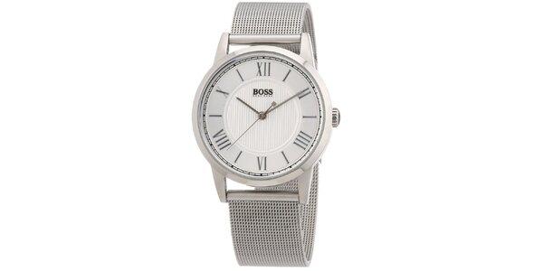 Dámske okrúhle strieborné hodinky s oceľovým ťahom Hugo Boss Orange