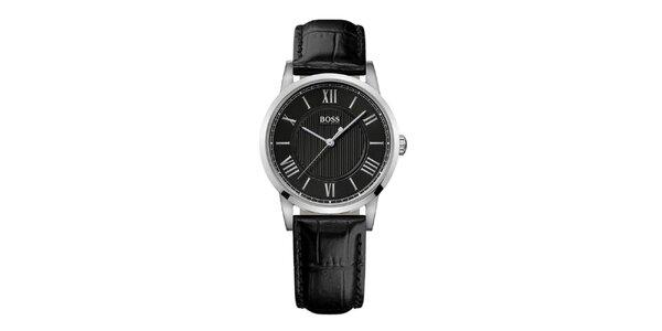 Dámske strieborné hodinky s čiernym ciferníkom Hugo Boss Orange