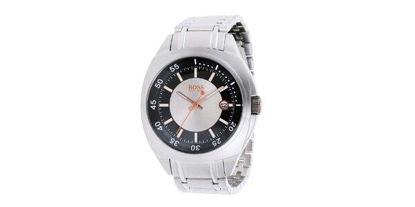 Oceľové hodinky s dátumovkou Hugo Boss Orange