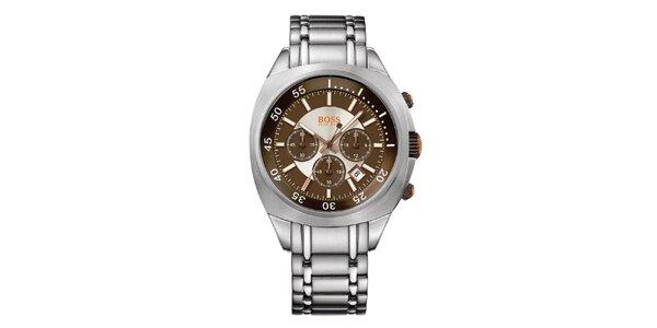 Pánske strieborno-hnedé analógové hodinky s chronografom Hugo Boss Orange