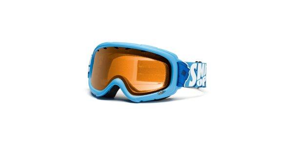 Blankytno modré lyžiarske okuliare Smith Optics so zlato zafarbenými sklami