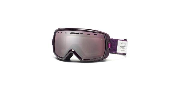 Fialové lyžiarske okuliare Smith Optics so zrkadlovým efektom