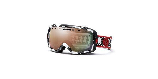 Dámske čiernobiele lyžiarske okuliare s motívom ruže Smith Optics