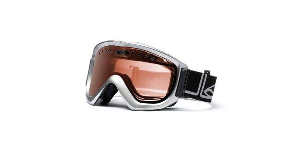 Pánske strieborné lyžiarske okuliare Smith Optics so zlato zafarbenými sklíčkami