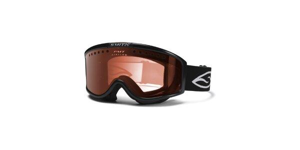 Pánske čierne lyžiarske okuliare Smith Optics so zlato zafarbenými sklíčkami