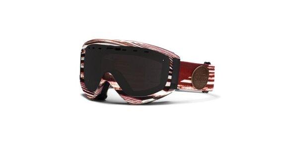 Bielo-červené vzorované okuliare Smith Optics s dymovými sklami