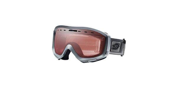 Strieborné lyžiarske okuliare Smith Optics s rúžovo zlatými sklíčkami