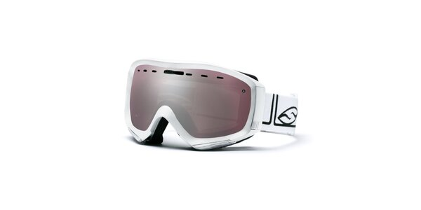 Biele lyžiarske okuliare s dymovými sklíčkami Smith Optics