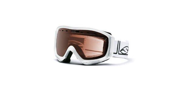 Biele lyžiarske okuliare Smith Optics s hnedými sklíčkami