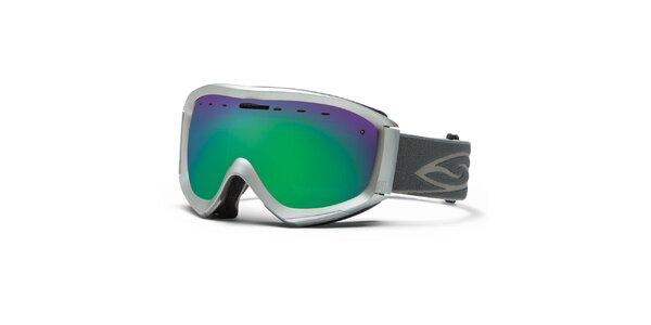 Strieborné lyžiarske okuliare Smith Optics so zelenými duhovými sklíčkami