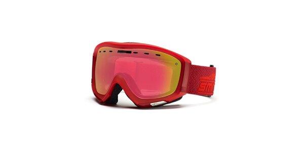 Malinové lyžiarske okuliare so zrkadlovými sklíčkami Smith Optics
