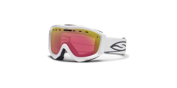 Biele lyžiarske okuliare Smith Optics s duhovými sklíčkami
