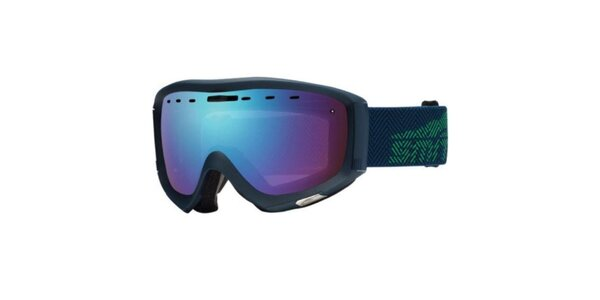 Tmavo modré lyžiarske okuliare Smith Optics s duhovými sklíčkami
