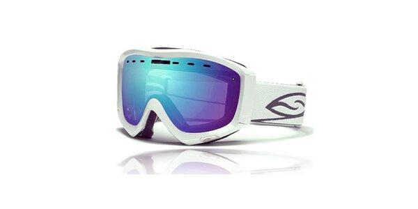 Biele lyžiarske okuliare Smith Optics s modrými duhovými sklíčkami