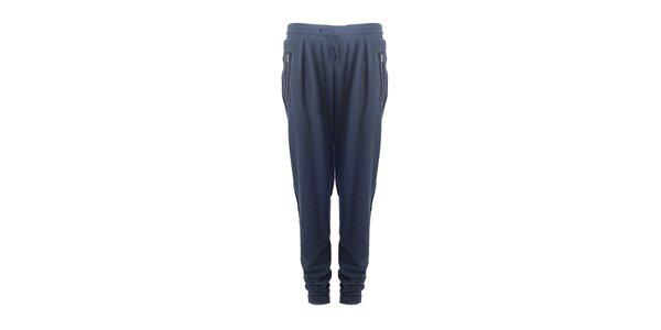 Dámske modré nohavice so zipsovými vreckami Hype