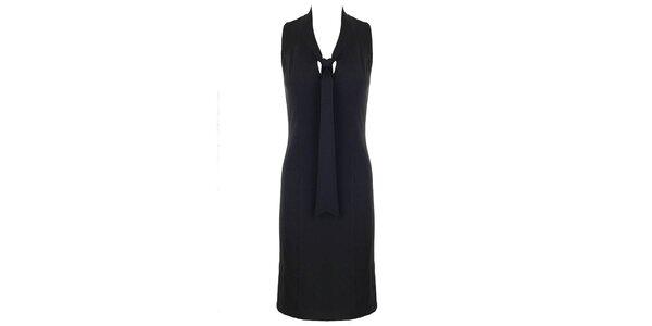 Dámske čierne šaty s viazačkou Hype