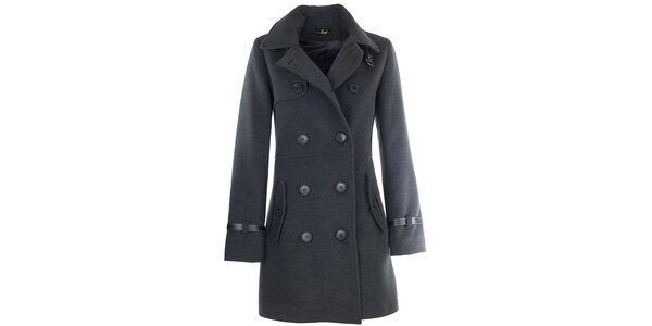 Dámsky tmavo šedý kabát s prackou Le Vertige