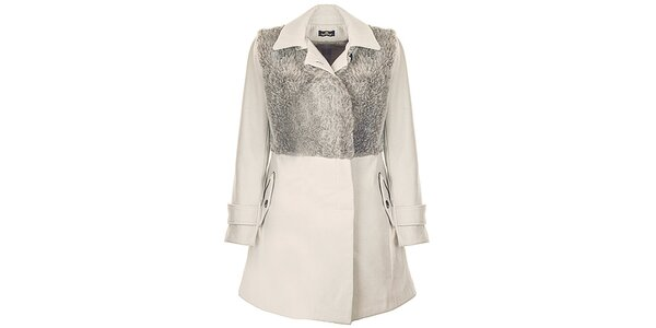 Dámsky béžový kabát s umelou kožušinou Le Vertige
