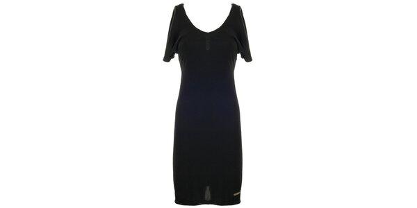 Dámske čierne šaty so zlatým zipsom Le Vertige