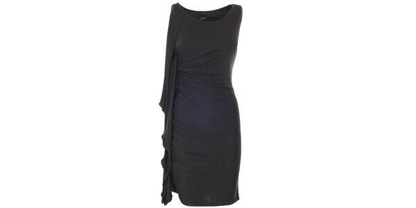 Dámske čierne šaty s bočnám volánom Le Vertige