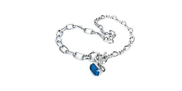 Dámsky oceľový náhrdelník s modrým príveskom Dolce&Gabbana
