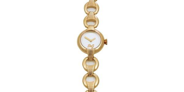 Dámske oceľové náramkové hodinky Dolce & Gabbana v zlatej farbe