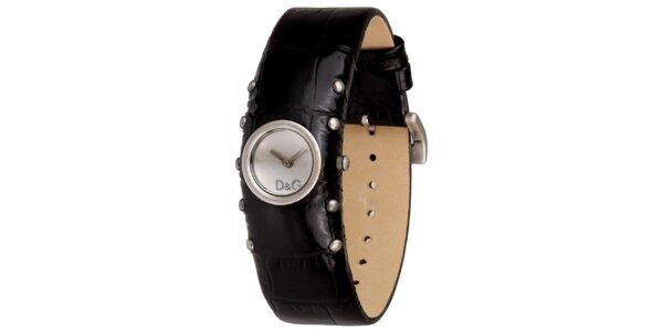 Dámske čierne hodinky s cvočkami Dolce&Gabbana