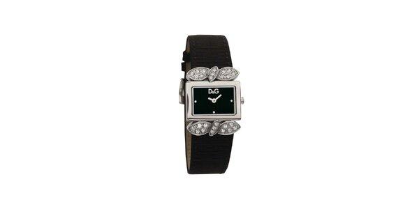 Dámske čierne hodinky Dolce & Gabbana s kryštálmi