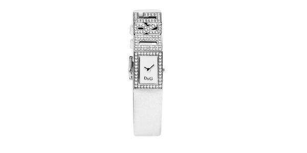 Dámske biele hodinky Dolce & Gabbana s trblietavými oceľovými komponentami