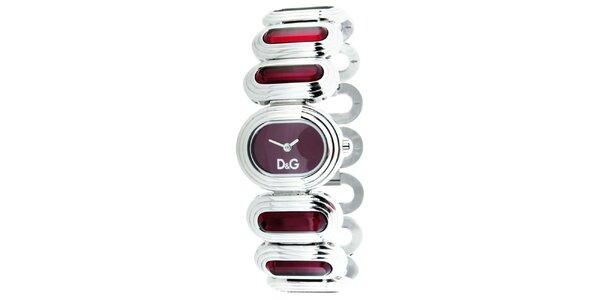 Dámske strieborno-červené hodinky Dolce&Gabbana