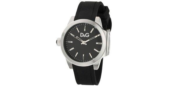 Dámske čierne hodinky Dolce & Gabbana s oceľovým púzdrom