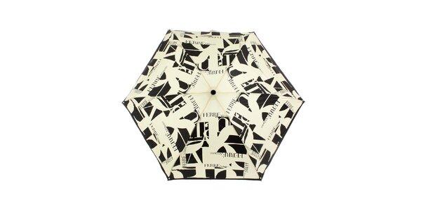 Dámsky krémovo-čierny dáždnik s potlačou Ferré Milano