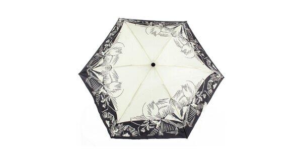 Dámsky vystreľovací krémovo-čierny dáždnik s potlačou Ferré Milano