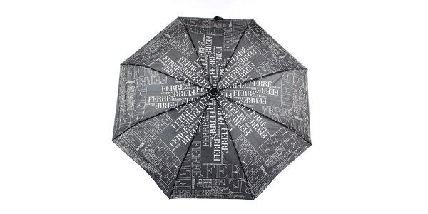 Dámsky čierny vystreľovací dáždnik s logom Ferré Milano