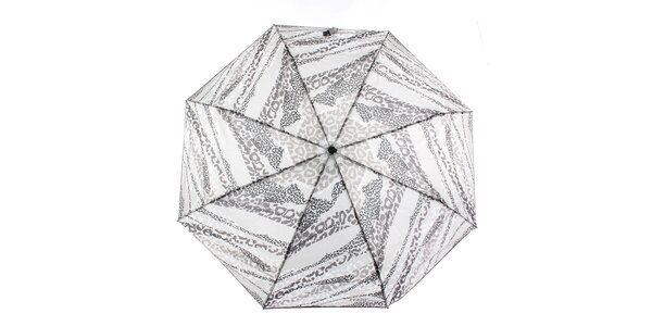 Dámsky šedo-biely dáždnik so zvieracou potlačou Ferré Milano