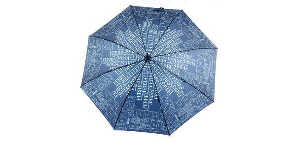 Dámsky modrý dáždnik so vzorom Ferré Milano