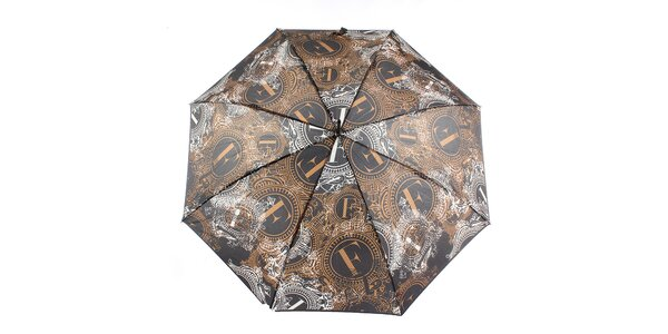 Dámsky hnedo-čierny veľký vystreľovací dáždnik Ferré Milano