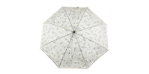 Dámsky krémovo-čierny dáždnik s kvetinovou potlačou Ferré Milano