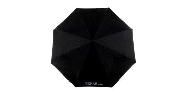 Dámsky čierny vystreľovací dáždnik s kamienkami Ferré Milano