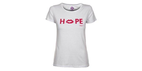 Dámske biele tričko Hope s ružovou potlačou
