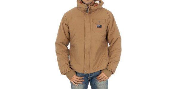 Pánska béžová bunda Bench s kapucňou