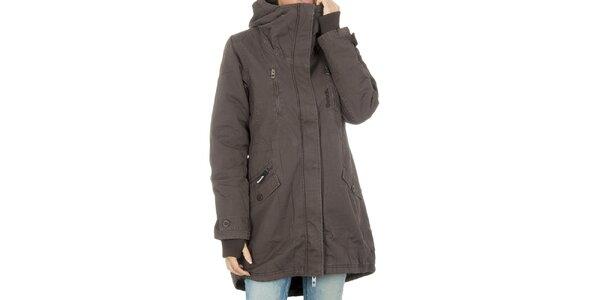 Dámsky hnedý kabát Bench s kapucňou