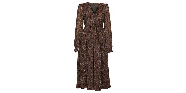Dámske tmavo hnedé šaty Hope s potlačou