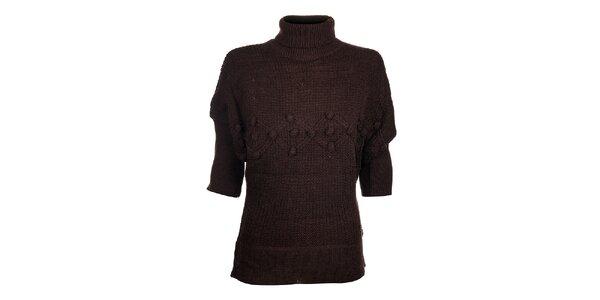 Dámsky tmavo hnedý sveter Hope s rolákom